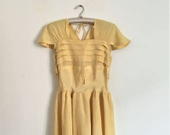 Antique 30s Light Yellow Rayon Maxi Day Dress / Extra Small to Small Size