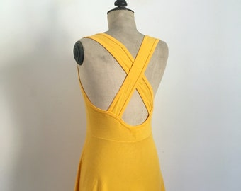 76f245699e Vintage 1980s-1990s Crossed Backless Yellow Cotton Midi Day Dress UNANYME Georges  RECH   Size Medium