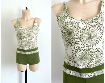 Vintage 1960s CATALINA White and Green Atomic Printed One-Piece Swimsuit  / Size Medium