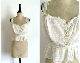 Antique Circa 1900s-1910s White Handmade Dotted Plumetis Lace and Embroideries Belle Epoque Camisole - Antique French Lingerie / Size S-M
