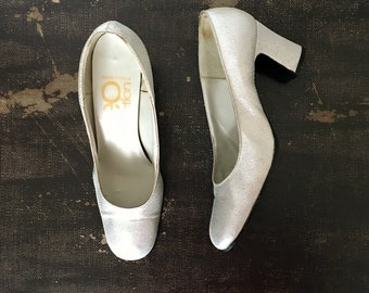 Vintage 1970s Silver Lurex Heels Closed Pumps REO COLLECTION Made in France / Size 38 Eur - 7.5 Us - 5 Uk