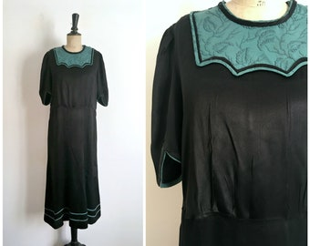 Antique Late 20s Early 30s Black Satin Crepe Maxi Evening Dress / Size Medium to Large