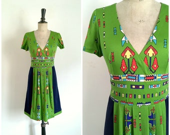 Rare Vintage 1960s / 1970s OLEG CASSINI Navy and Green Native American Patterns Printed Jersey Midi Summer Day Dress / Size S