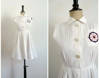 Vintage 1950's Mini Summer Day Dress - White Cotton Embroidered Sailor Pattern on the Bust/ Extra Small to Small
