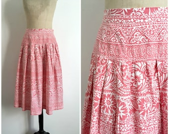 Vintage 1980s JAEGER LONDON Printed Cotton Midi Skirt 50s Style / Size S-M