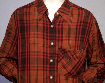 "90's Jones New York Sport - Orange red brown plaid long sleeve collared button up rayon tunic shirt - women's XL-2X / 45"""