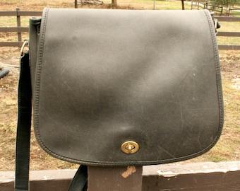 Vintage Coach classic crossbody messenger black grey bag purse satchel w/ long adjustable strap