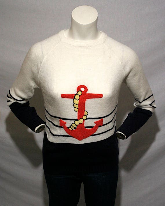 70 s Nautical themed sailor anchor navy blue and white  2fb7afb05