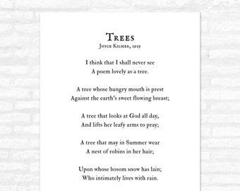 Trees Poem Print, Joyce Kilmer, I think that I shall never see a poem lovely as a tree