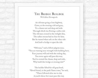 Mentor Gift for women, for men, for teacher, The Bridge Builder Poem Print