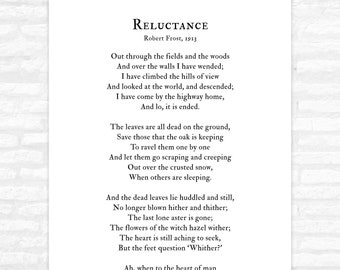 reluctance poem by robert frost