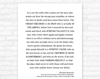 Man in the Arena Print, graduation gift for him, Theodore Roosevelt speech, inspirational