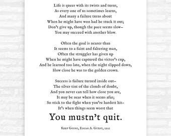 Don't Quit Poem Print, new year's resolution, inspirational gifts