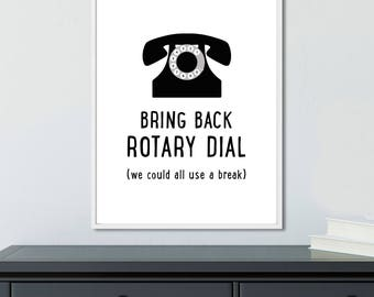 Funny office decor wall art, typography print, Rotary Dial Phone Print