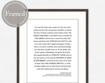 Man in the Arena Framed Print, Fathers Day Gift, Custom Framed gift for him, Theodore Roosevelt