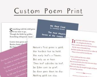 Custom Poem Print, personalized gift, inspirational typography