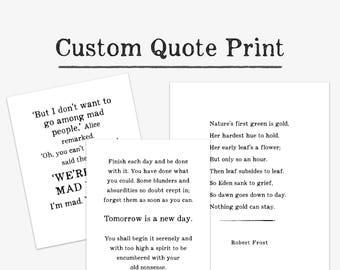 Custom Typography Print, personalized lyrics, poem, quote, literary print