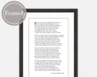 Framed Print, Rudyard Kipling Poem If, graduation gift for him