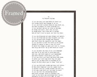 Framed Print, If Poem, Rudyard Kipling, gift for teenage boy