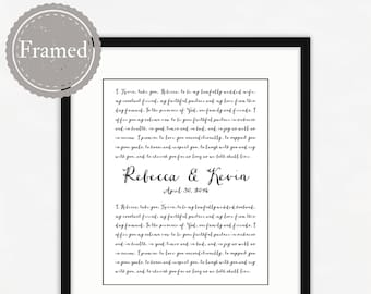 Wedding Vows Framed Print, personalized anniversary gift, free shipping