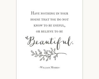 William Morris Quote Art Print, Typography, useful, beautiful