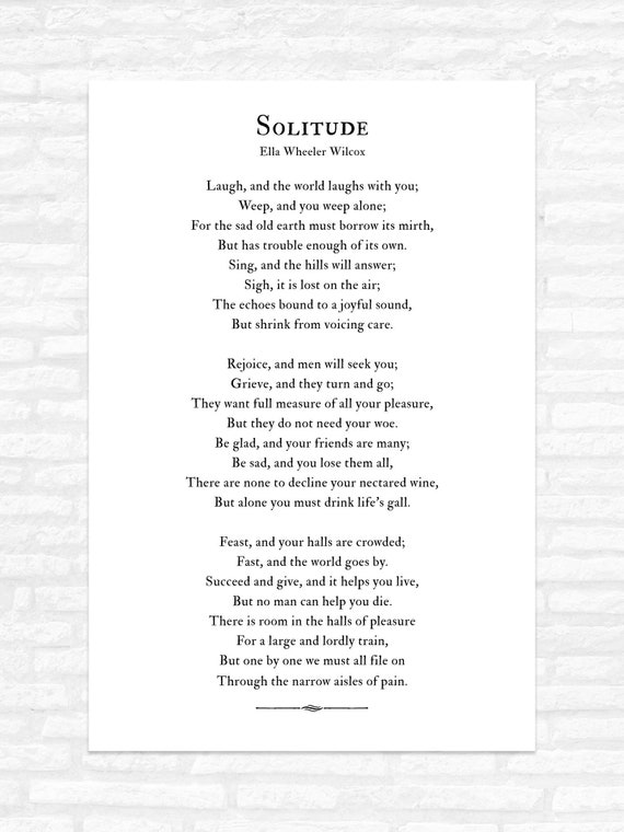 Solitude Poem Print Laugh And The World Laughs With You Poetry Ella Wheeler Wilcox