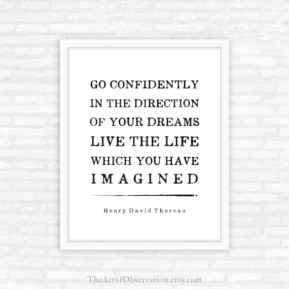 Henry David Thoreau Quote Print Go Confidently In The Etsy