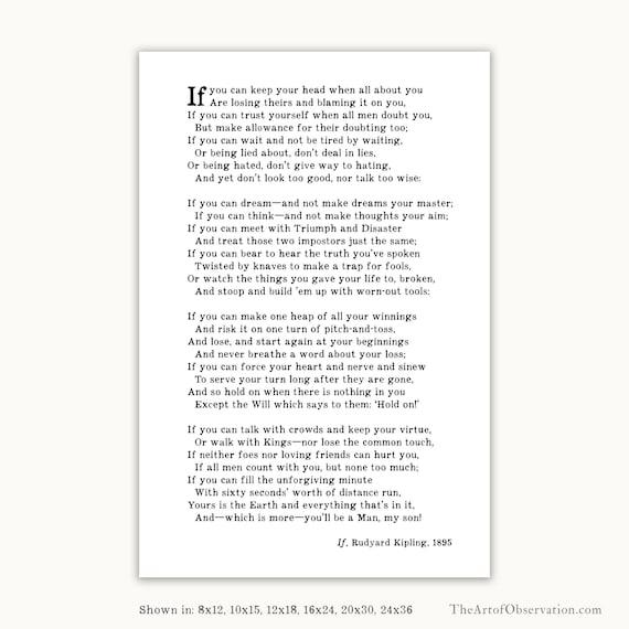 By If Rudyard Teenage Boy PrintGraduation Wall For Poem Kipling Gift Art QCoEdxBWre