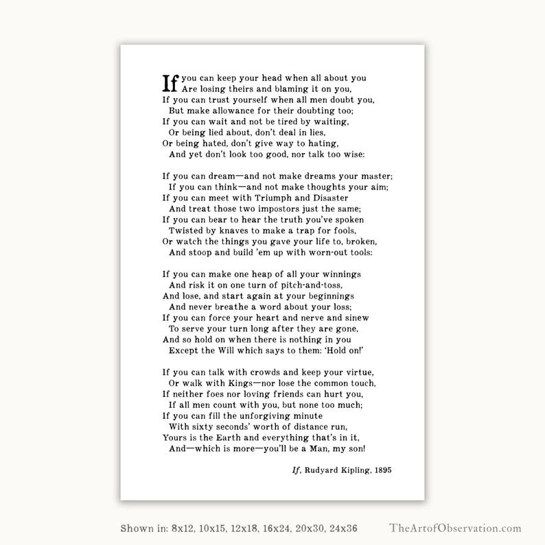 cd7518704f79 If Poem by Rudyard Kipling wall art print graduation gift for