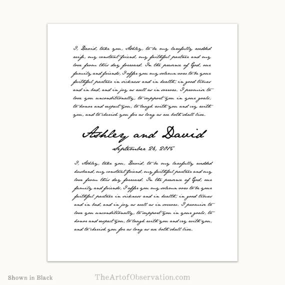 Custom Wedding Vows Print Personalized Gift Script Font Giclee