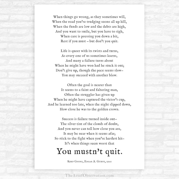 Dont Quit Poem Print Motivational Quote Poster Etsy