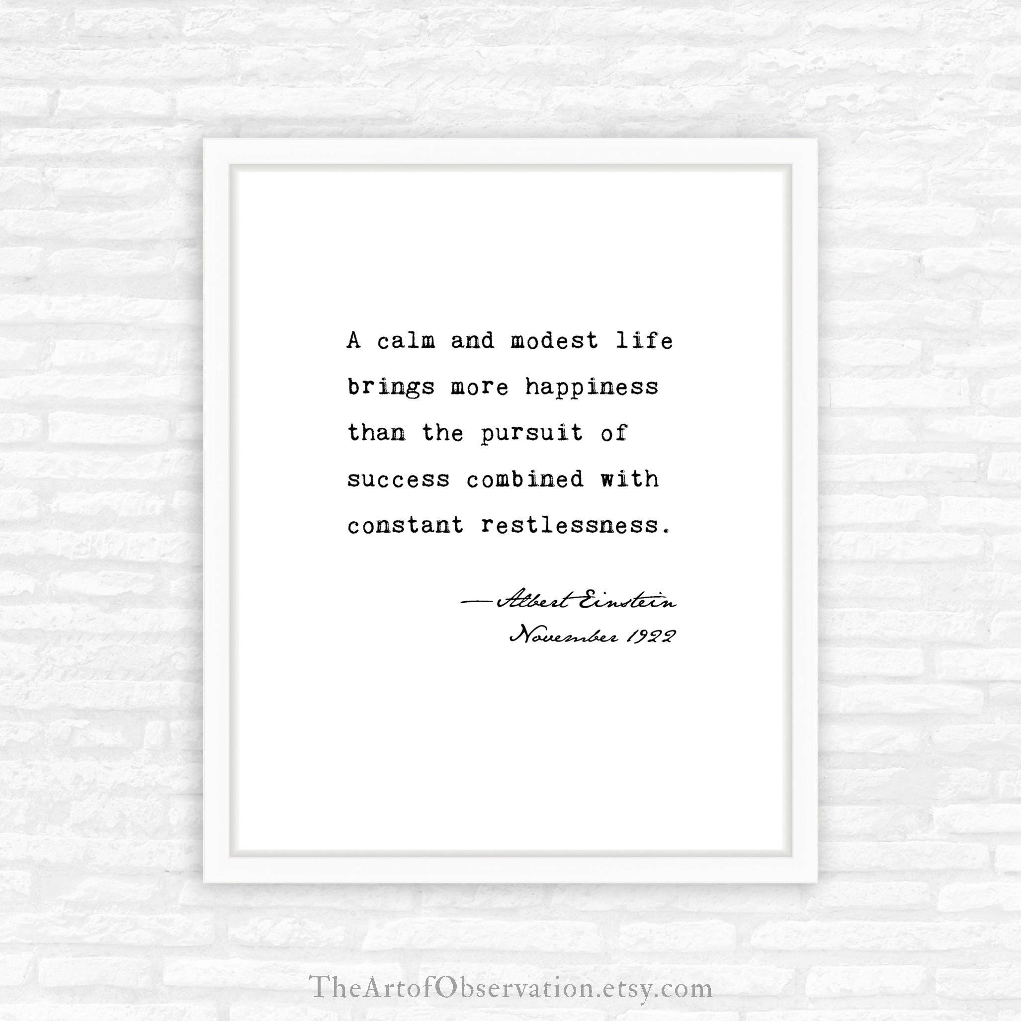 Albert Einstein Quote Print About Happiness A Calm And Modest Etsy