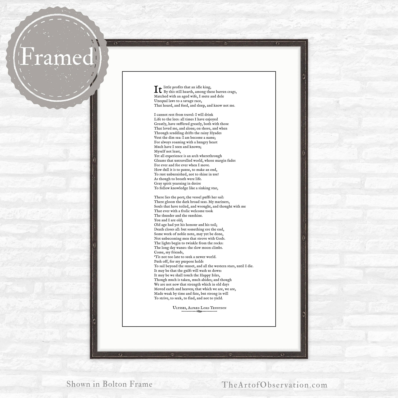 Framed Poem Print Ulysses By Alfred Lord Tennyson Etsy