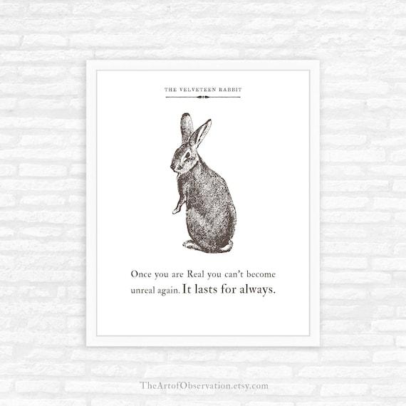 The Velveteen Rabbit Quotes | Velveteen Rabbit Quote Print Literary Gift Nursery Decor Etsy