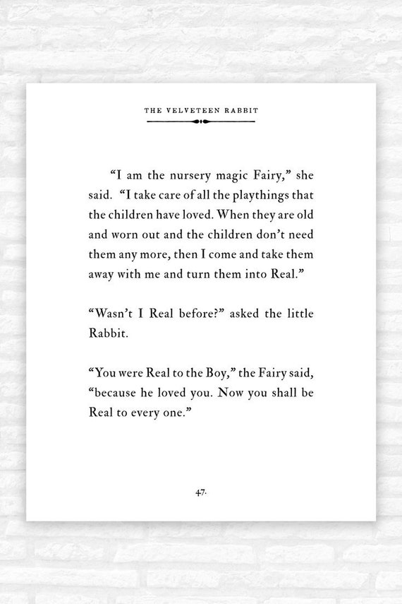 Velveteen Rabbit Quote Print, children\'s book page wall art