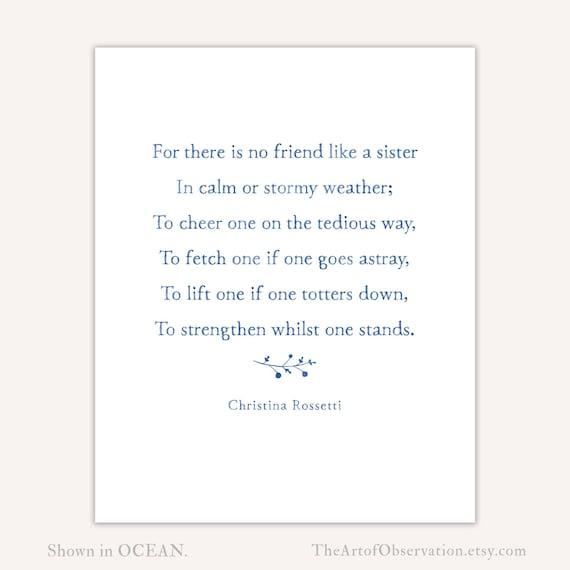 Gift For Sisters Poem Print Christina Rossetti Etsy