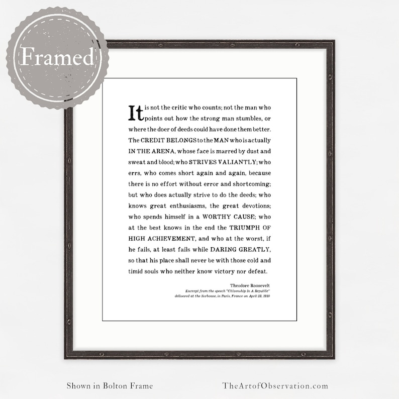 Man In The Arena Quote | Man In The Arena Framed Quote Print Graduation Gift For Men Etsy