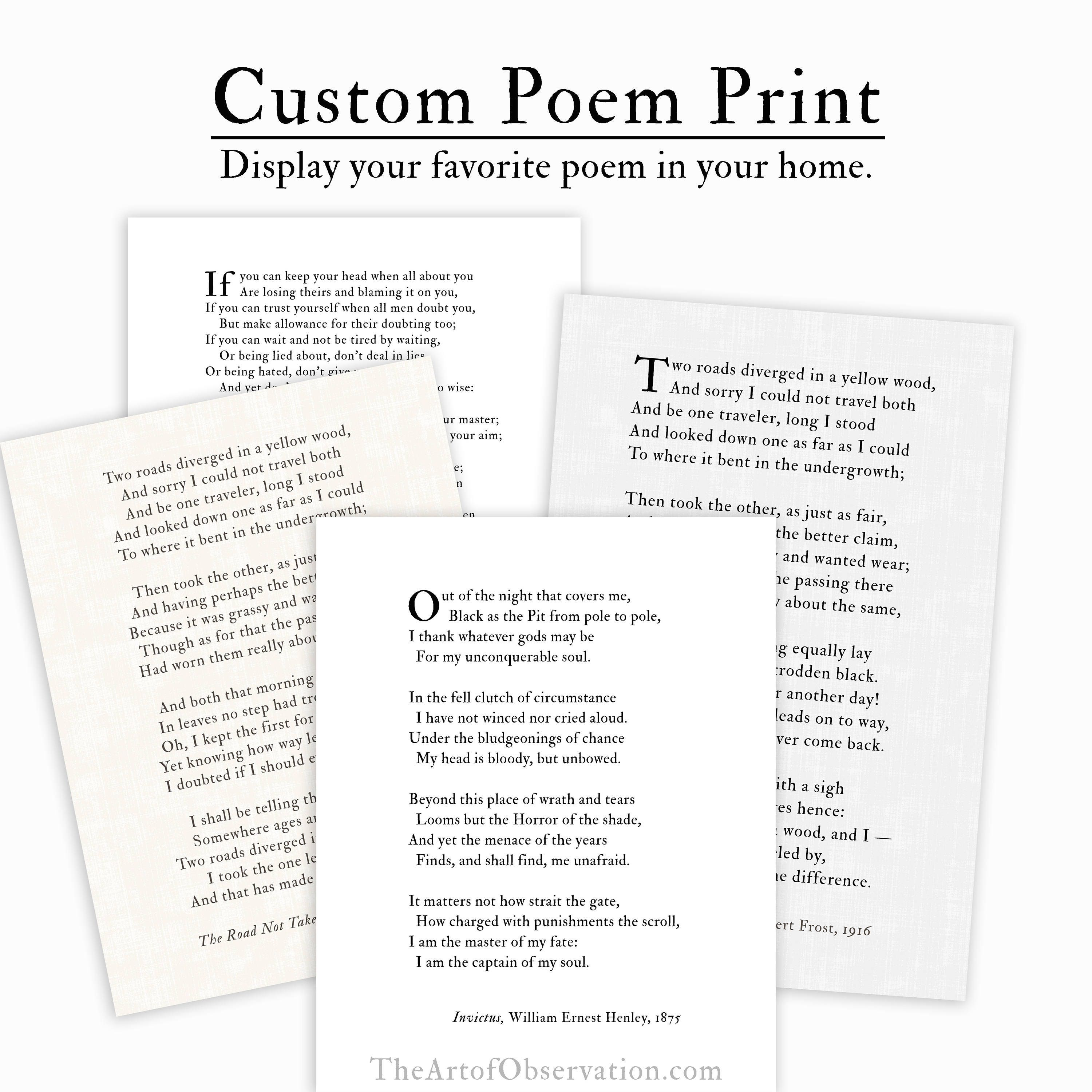Custom Poem Print, personalized gift for her, literary gifts
