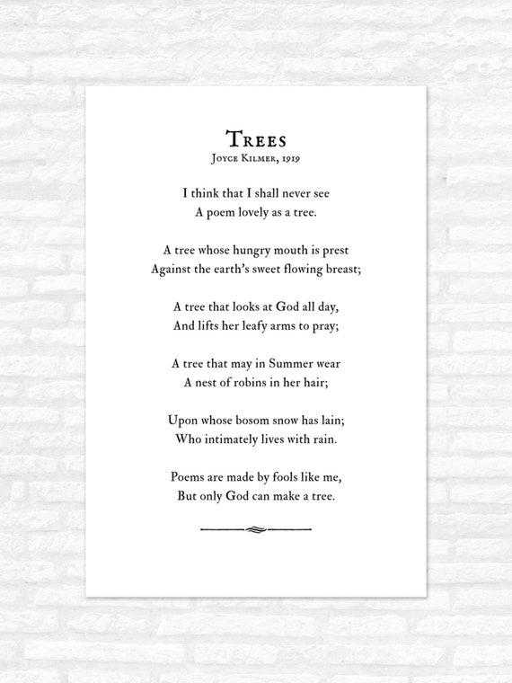 trees poem print joyce kilmer i think that i shall never see etsy