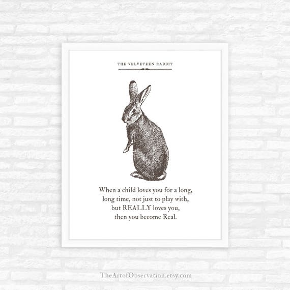 Velveteen Rabbit Quote Print, literary quote, book page, nursery decor