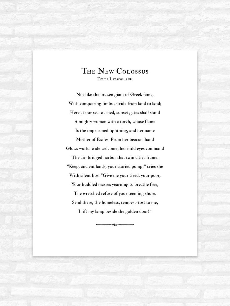 Immigration Poster, US Citizenship graduation gift print, The New Colossus  poem by Emma Lazarus