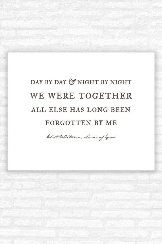 We Were Together Quote Walt Whitman Love Poem Print