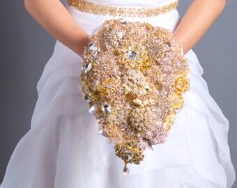 Cascading Bouquet - Bridal Bouquet - Brooch Bouquet - Broach Bouquet - Cascading Wedding Bouquet - Crystal Bouquet - Deposit