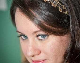 Iriana - Vintage style Jeweled Ribbon Headband - Gold