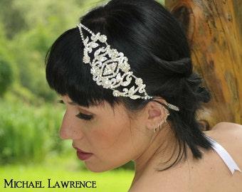 Angelina - Rhinestone Medallion Ribbon Headband