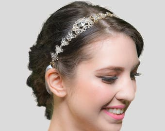 Crystal Headband - Crystal Headpiece - Wedding Headband - Wedding Headpiece - Bridal Headband - Bridal Headpiece - Gold Headband - SOPHIA
