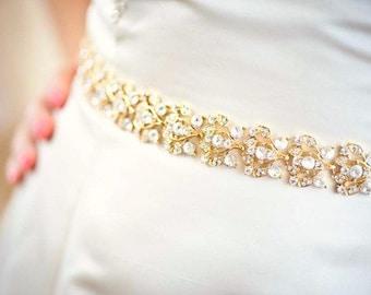 Gold Belt - Gold Sash - Wedding Belt - Wedding Sash - Crystal Belt - Crystal Sash - Bridal Belt - Bridal Sash - Prom Sash - Collette