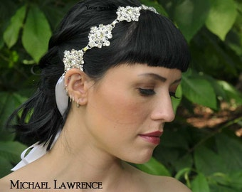 Faerieland Crystal Bridal Ribbon Headband Headpiece