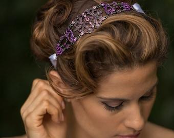 Michelle - Large Vintage style Jeweled Ribbon Headband - Gothic - Black and Purple