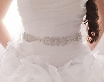 Bridal Belt - Bridal Sash - Wedding Belt - Wedding Sash - Crystal Sash - Crystal Belt- Rhinestone Sash - Rhinestone Belt - IRIANA